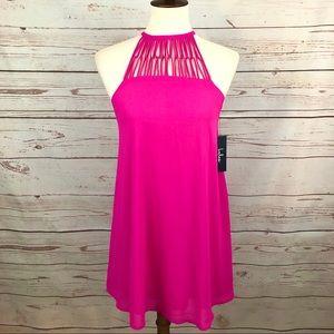 NWT Lulu's Fuchsia Hot Pink Halter Shift Dress